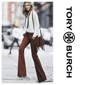 Tory Burch Brown Wool Fit Flare Sailor Pants